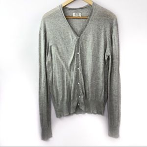 All Saints Knell Cardigan Gray Thin Knit Button